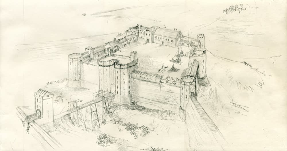 Illustration of Berwick Castle from the east, c. 14th century.